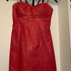 Guess Faux Strapless Leather dress
